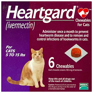 Heartgard For Cats 5 15 Lbs 6 Chewables Purple