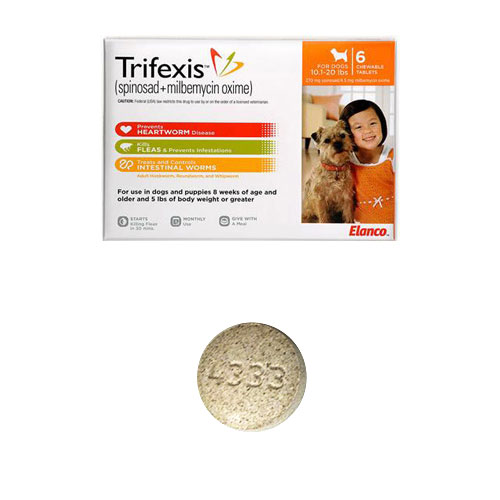 Trifexis For Dogs 10 1 20 Lbs 6 Chewable Tablets Orange