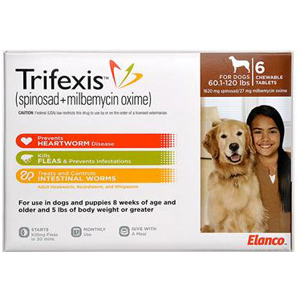 Trifexis For Dogs 60 1 120 Lbs 6 Chewable Tablets Brown