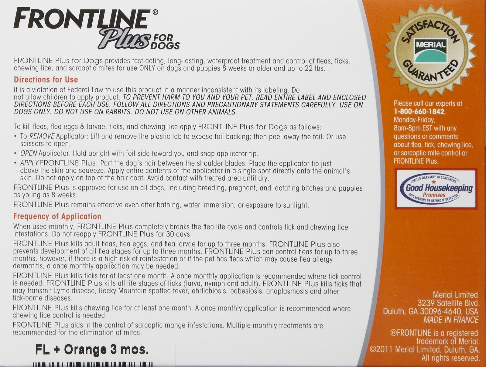 Frontline Plus for Dogs 0-22 lbs, Orange, 3 Pack - 1010177