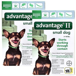 Advantage II for Dogs 1-10 lbs, 12 Pack (Green)