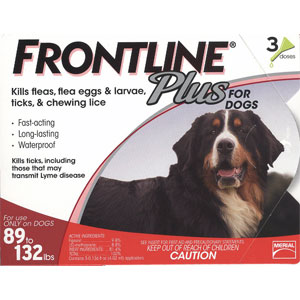 Frontline Plus for Dogs 89-132 lbs, Red, 3 Pack