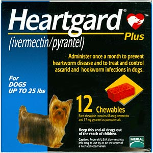 Heartgard Plus for Dogs, up to 25 lbs, Blue, 12 Chewables