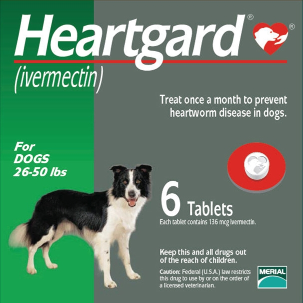 Heartgard for Dogs 26-50 lbs, Green, 6 Tablets