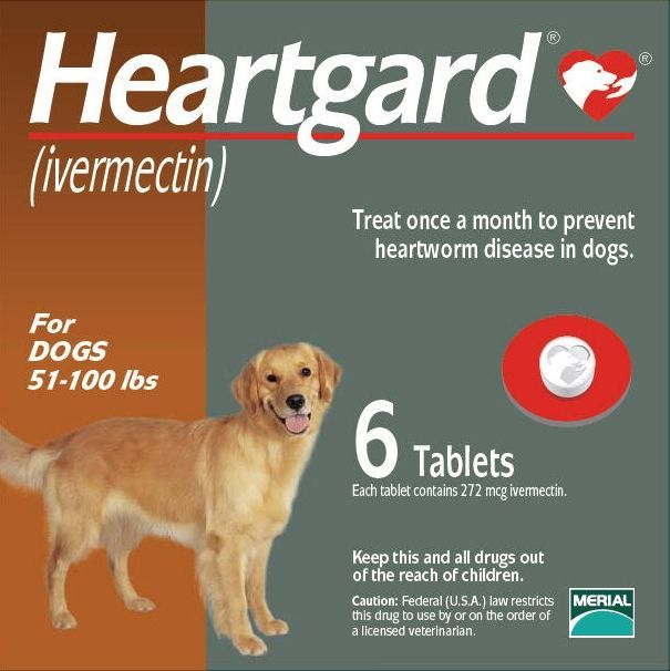 Heartgard for Dogs 51-100 lbs, Brown, 6 Tablets
