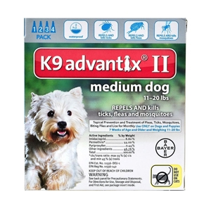 K9 Advantix II for Dogs 11-20 lbs, 4 Pack (Teal)