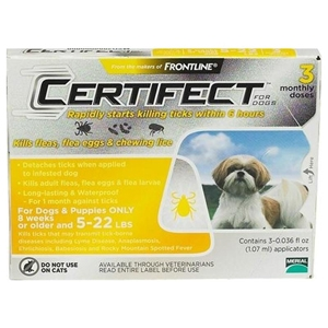 Certifect for Dogs 5-22 lbs, 3 Month (Yellow)
