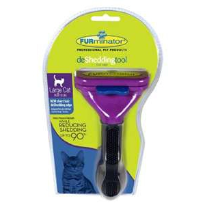 "FURminator deShedding Tool For Large Cats Over 10 lbs, 2.65"" Wide Edge, Long Hair Edge"