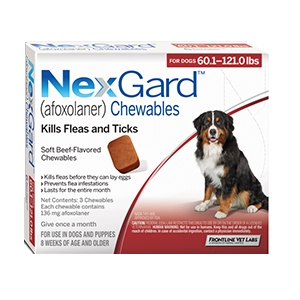 Nexgard for Dogs 60.1 - 121.0 lbs, 3 Month Supply