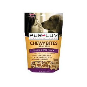 Pur Luv Chewy Bites Peanut Butter Flavor, 6 oz