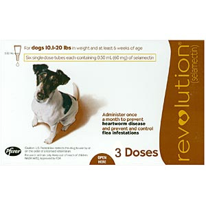 Revolution for Dogs 10-20 lbs, 3 Pack (Brown)