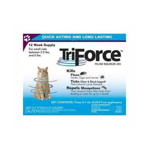 TriForce Feline Squeeze-On for Cats 2.2 to 5 lbs, 3 Pack