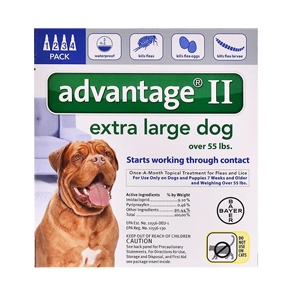 Advantage II for Dogs 55-100 lbs, Blue, 4 Pack