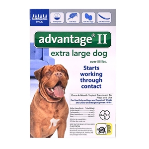 Advantage II for Dogs 55-100 lbs, 6 Pack (Blue)