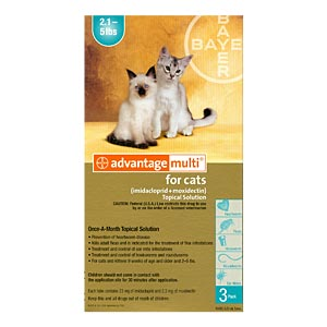 Advantage Multi For Cats and Kittens 2-5 lbs, Turquoise, 3 Pack