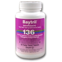 Baytril 136 mg, 50 Taste Tablets (enrofloxacin)