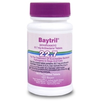 Baytril 22.7 mg, 100 Enteric Coated Tablets (enrofloxacin)