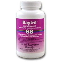 Baytril 68 mg, 250 Taste Tablets (enrofloxacin)