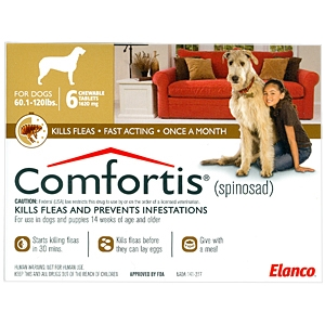 Comfortis for Dogs 60-120 lbs, 6 Pack (Brown)