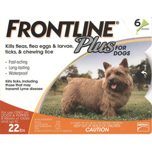 Frontline Plus for Dogs 0-22 lbs, Orange, 12 Pack