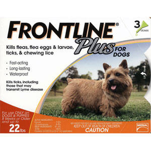 Frontline Plus for Dogs 0-22 lbs, Orange, 3 Pack