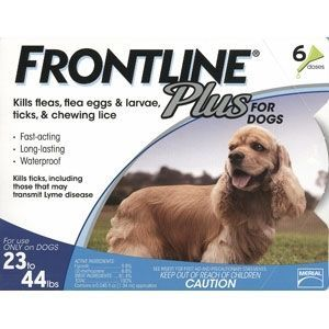 Frontline Plus for Dogs 23-44 lbs, Blue, 6 Pack