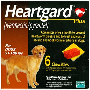 Heartgard Plus for Dogs, 51-100 lbs, Brown, 6 Chewables