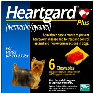 Heartgard Plus for Dogs, up to 25 lbs, Blue, 6 Chewables