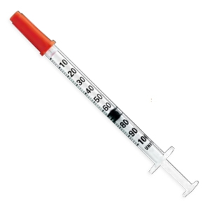Insulin Syringe U-100 3/10 cc, 29 gauge x 1/2 in, Terumo, 100