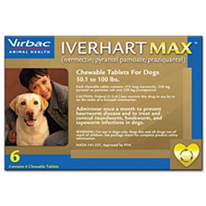 Iverhart Max for Dogs 51-100 lbs, Brown, 6 Pack