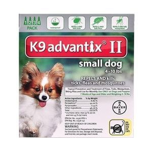 K9 Advantix II for Dogs up to 10 lbs, 4 Pack (Green)