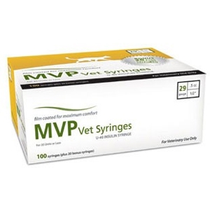 MVP Vet Syringe U-40 Insulin, 1/2 cc, 29 gauge x 1/2 in, 100