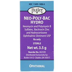 Neomycin, Polymyxin B, Bacitracin Opthalmic Ointment. with Hydrocortisone , 1/8 oz