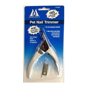 Pet Nail Trimmer (Guillotine Style) with Free Replacement Blade and Styptic Powder