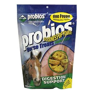 Probios Horse Treats, Digestion and Support, 1 lb Pouch, Apple Flavored