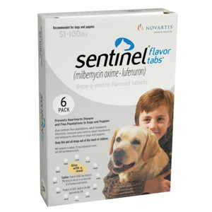 Sentinel for Dogs 51-100 lbs, Flavor Tabs, White, 6 Pack