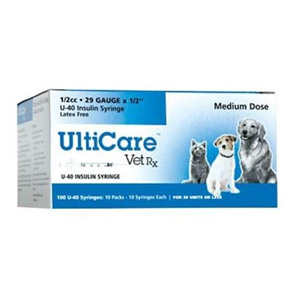 UltiCare VetRx U-40 1/2 cc, 29 ga. Insulin Syringe Dispenser