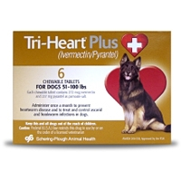Tri-Heart Plus for Dogs 51-100 lbs, 6 Pack (Brown)