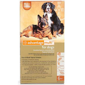 Advantage Multi for Dogs 88-110 lbs, 12 Pack (Brown)