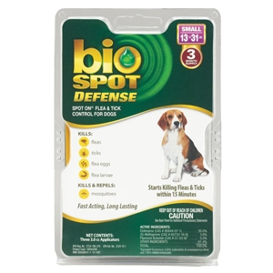 Bio Spot Defense Flea & Tick Spot On for Dogs 13-31 lbs, 3 Pack