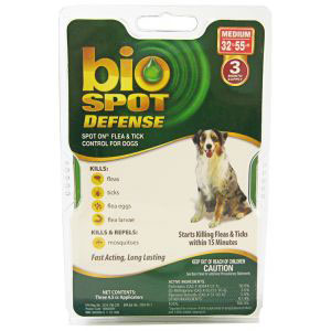 Bio Spot Defense Flea & Tick Spot On for Dogs 32-55 lbs, 3 Pack