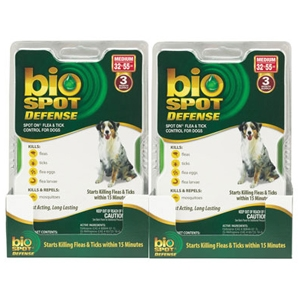 Bio Spot Defense Flea & Tick Spot On for Dogs 32-55 lbs, 6 Pack | VetDepot.com
