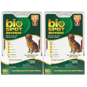 Bio Spot Defense Flea & Tick Spot On for Dogs 56-80 lbs, 6 Pack