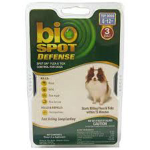 Bio Spot Defense Flea & Tick Spot On for Dogs 6-12 lbs, 3 Pack | VetDepot.com