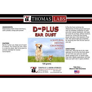D-Plus Ear Dust, 120 gm | VetDepot.com