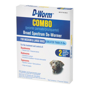D-Worm Combo for Medium and Large Dogs Over 25 lbs, 2 Chewable Tablets