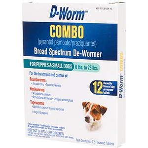 D-Worm COMBO Broad Spectrum De-Wormer For Puppies & Small Dogs 6-25 lbs, 12 Chewable Tablets