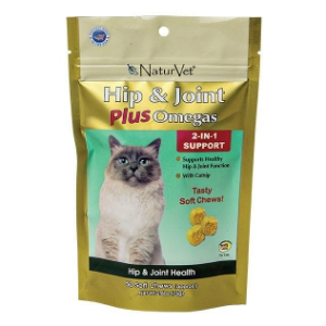 NaturVet Hip & Joint Plus Catnip Soft Chews for Cats, 50 Soft Chews