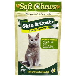 NaturVet Skin & Coat Plus Catnip Soft Chews for Cats, 50 Soft Chews
