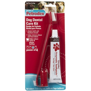Petrodex Dog Dental Care Kit, Beef Toothpaste With 2 Toothbrushes | VetDepot.com